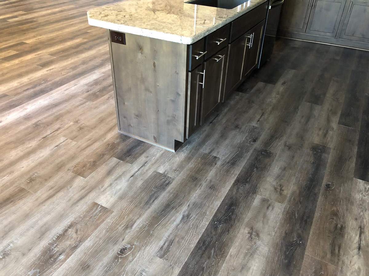 luxury vinyl flooring and kitchen island